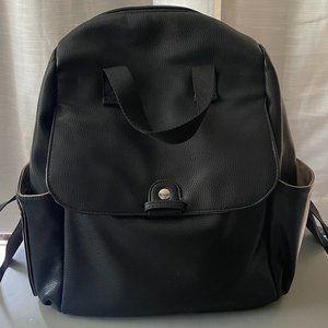 Babymel Diaper Backback, black faux leather